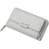 Вместительный женский кошелёк-клатч на цепочке серый опт, фото 1
