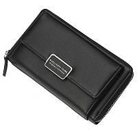 Вместительный женский кошелёк-клатч на цепочке черный, фото 1