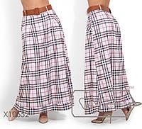 Женская длинная юбка в пол с карманами и поясом большого размера 48, 50, 52, 54