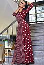 Женское вечернее платье марсаловое с горохом и полоской, с запахом, праздничное, нарядное, элегантное, фото 3