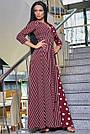 Женское вечернее платье марсаловое с горохом и полоской, с запахом, праздничное, нарядное, элегантное, фото 4