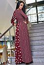 Женское вечернее платье марсаловое с горохом и полоской, с запахом, праздничное, нарядное, элегантное, фото 5