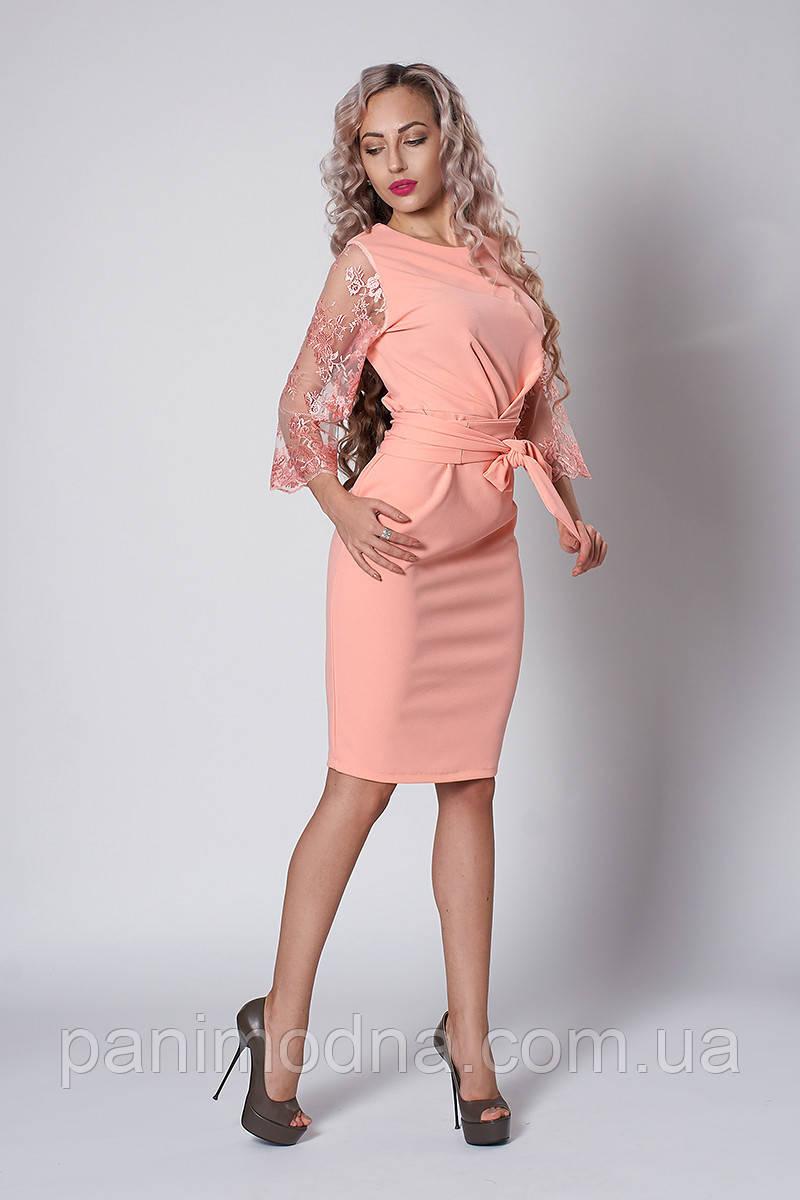 Нарядное Платье с кружевными рукавами