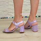Женские кожаные босоножки на устойчивом каблуке, декорированы бусинками. 38 размер, фото 5