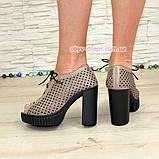 Босоножки женские кожаные на высоком каблуке, цвет визон. 38 размер, фото 3