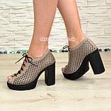 Босоножки женские кожаные на высоком каблуке, цвет визон. 38 размер, фото 4
