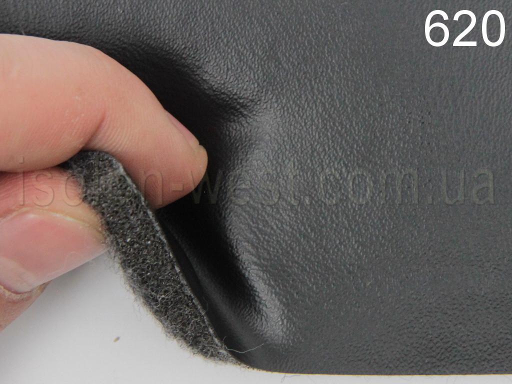 Авто кожзам черный гладкий на поролоне и войлоке 7 мм. 620