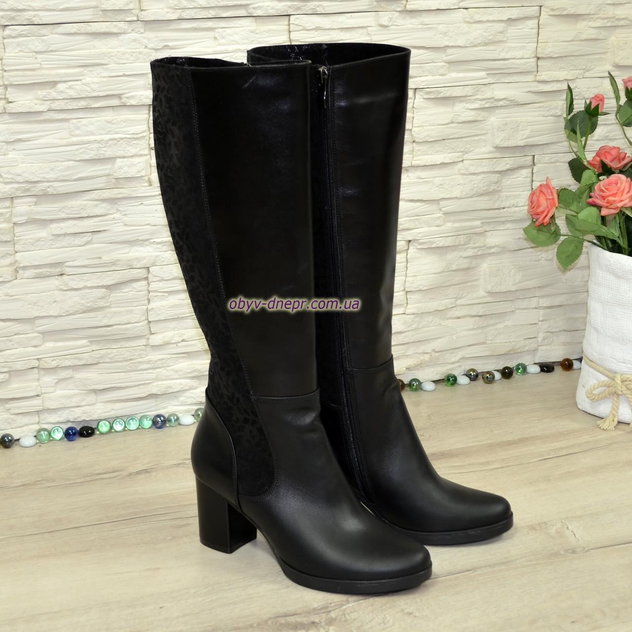 Сапоги зимние женские кожаные на невысоком устойчивом каблуке. 38 размер