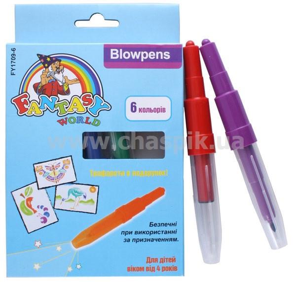 Фломастери Fantasy Блоупен 6 кольорів в упаковці + 2 картонні трафарети