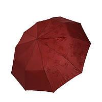 """Женский зонт-полуавтомат на 10 спиц Bellisimo """"Flower land"""", проявка, бордовый цвет, 461-3"""