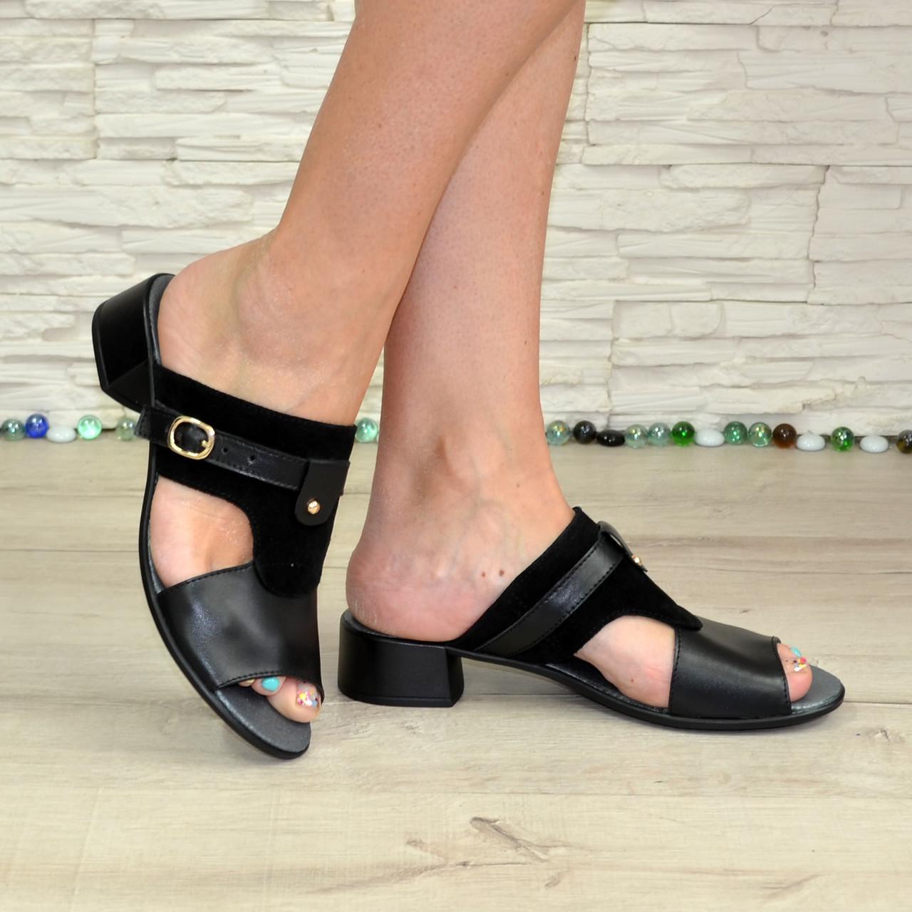 Женские кожаные черные шлепанцы на невысоком каблуке. В наличии 36 размер