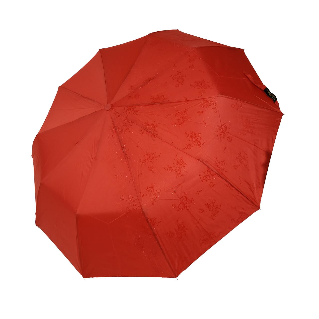 """Женский зонт-полуавтомат на 10 спиц Bellisimo """"Flower land"""", проявка, красный цвет, 461-6"""