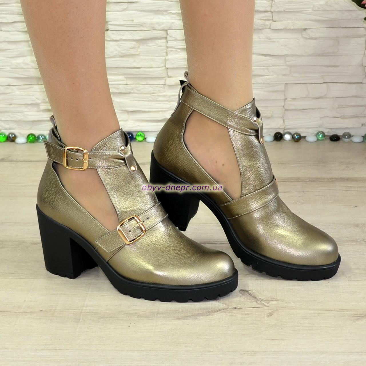 Ботильоны открытые кожаные женские на каблуке, цвет бронза. 39 размер
