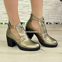 Ботильоны открытые кожаные женские на каблуке, цвет бронза. 39 размер, фото 1
