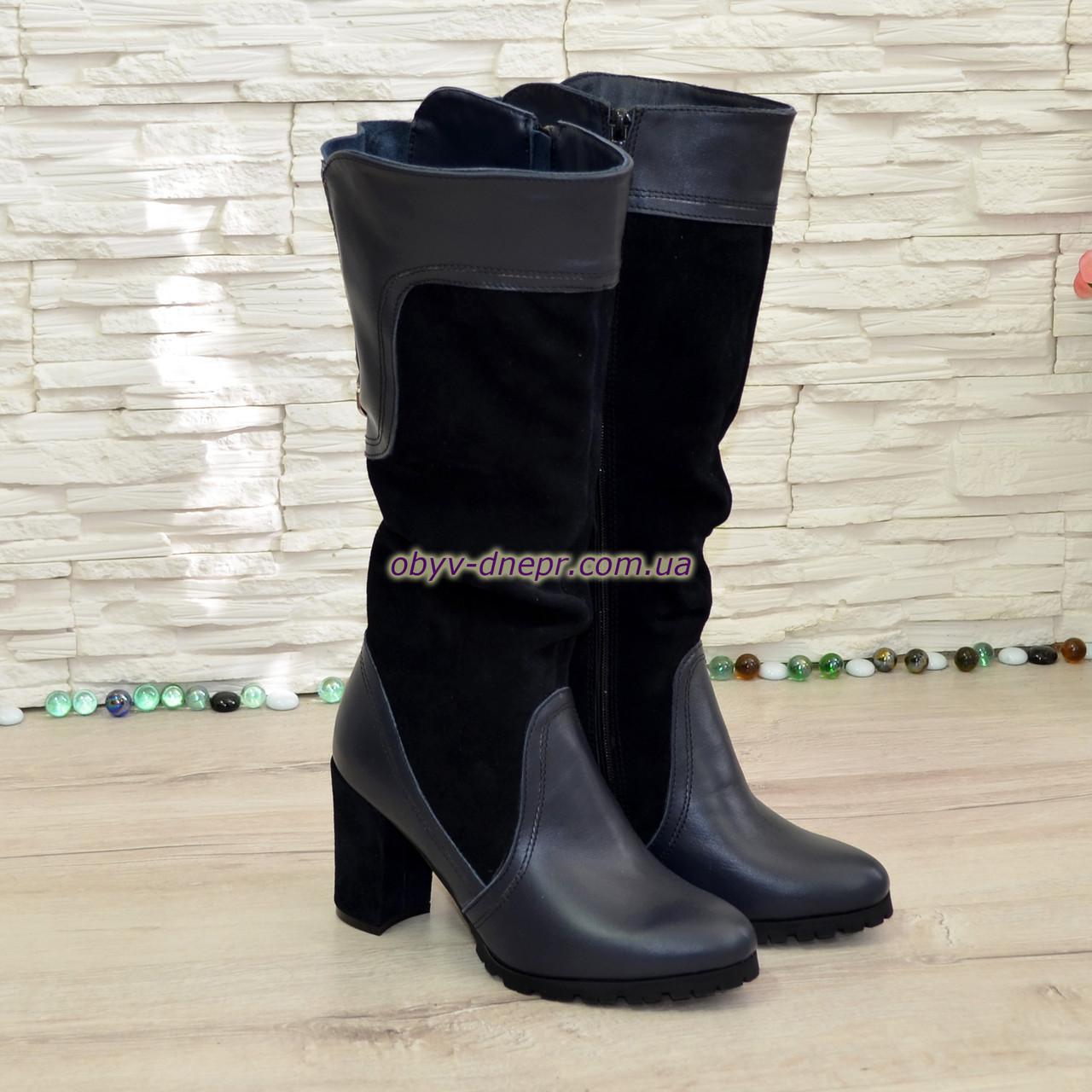 Сапоги комбинированные демисезонные на устойчивом каблуке. 37 размер