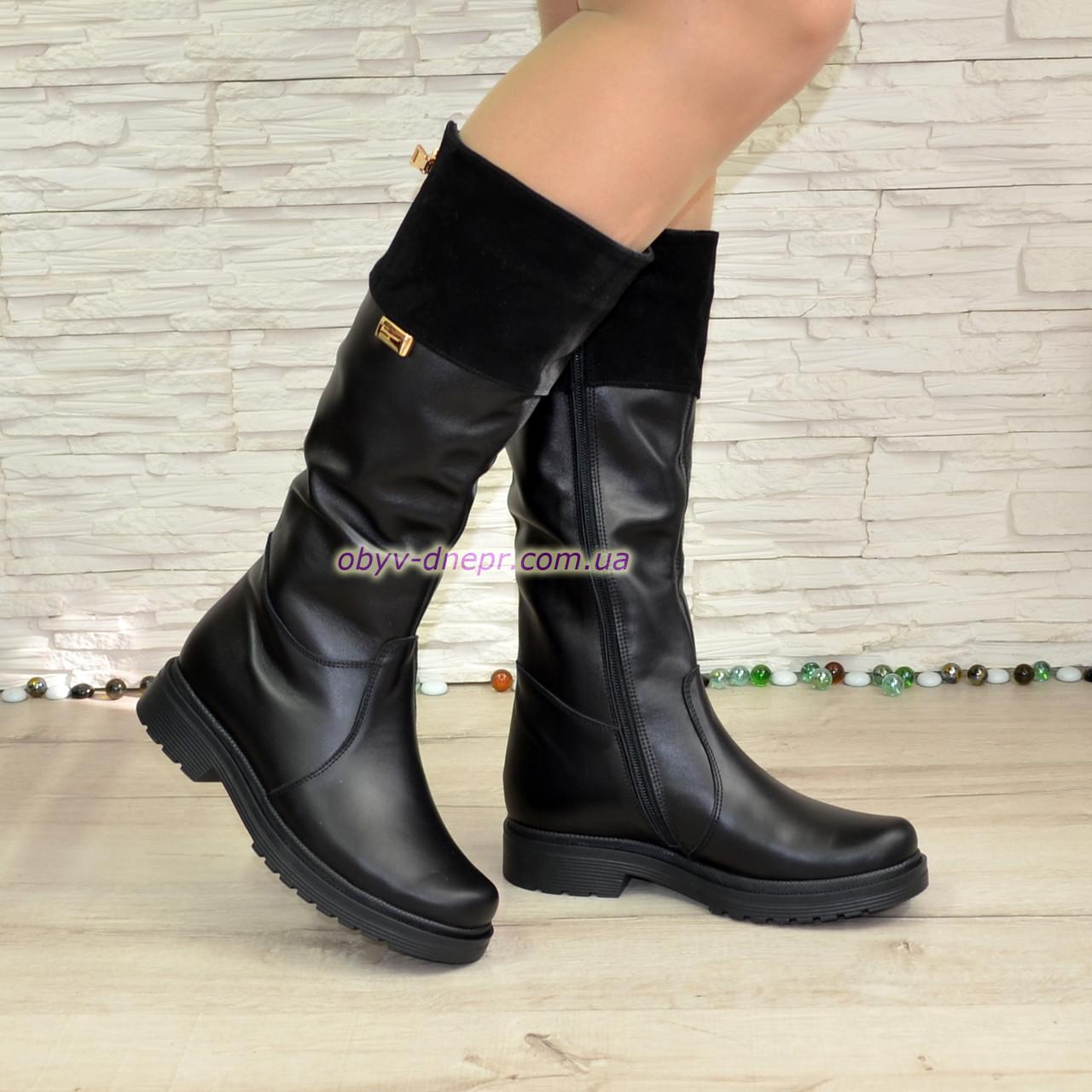 Сапоги комбинированные зимние на маленьком каблуке, натуральная кожа и замша. 38 размер