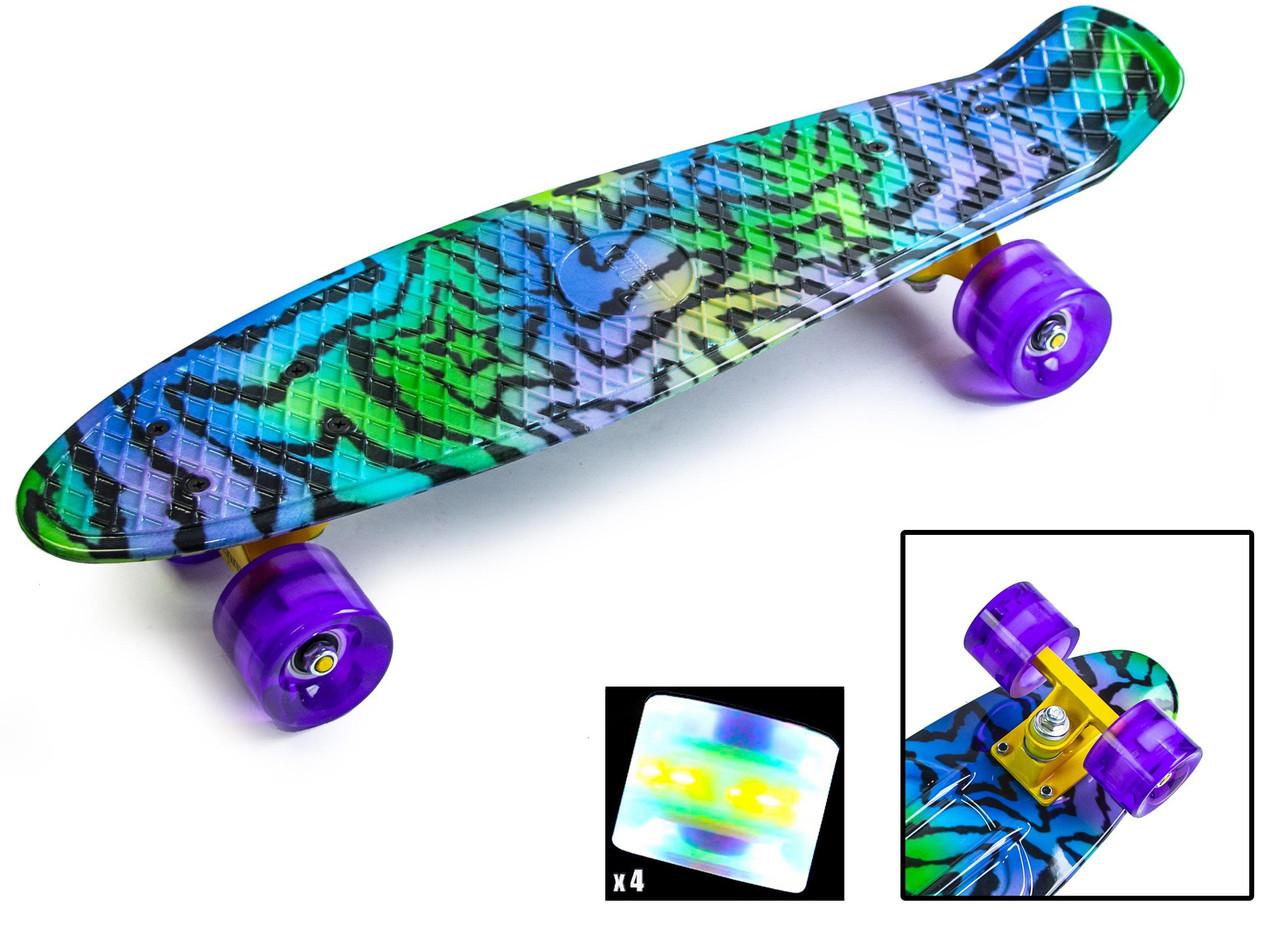Скейт Пенни борд Penny Board Ultra Led 22 - Звезда 54 см