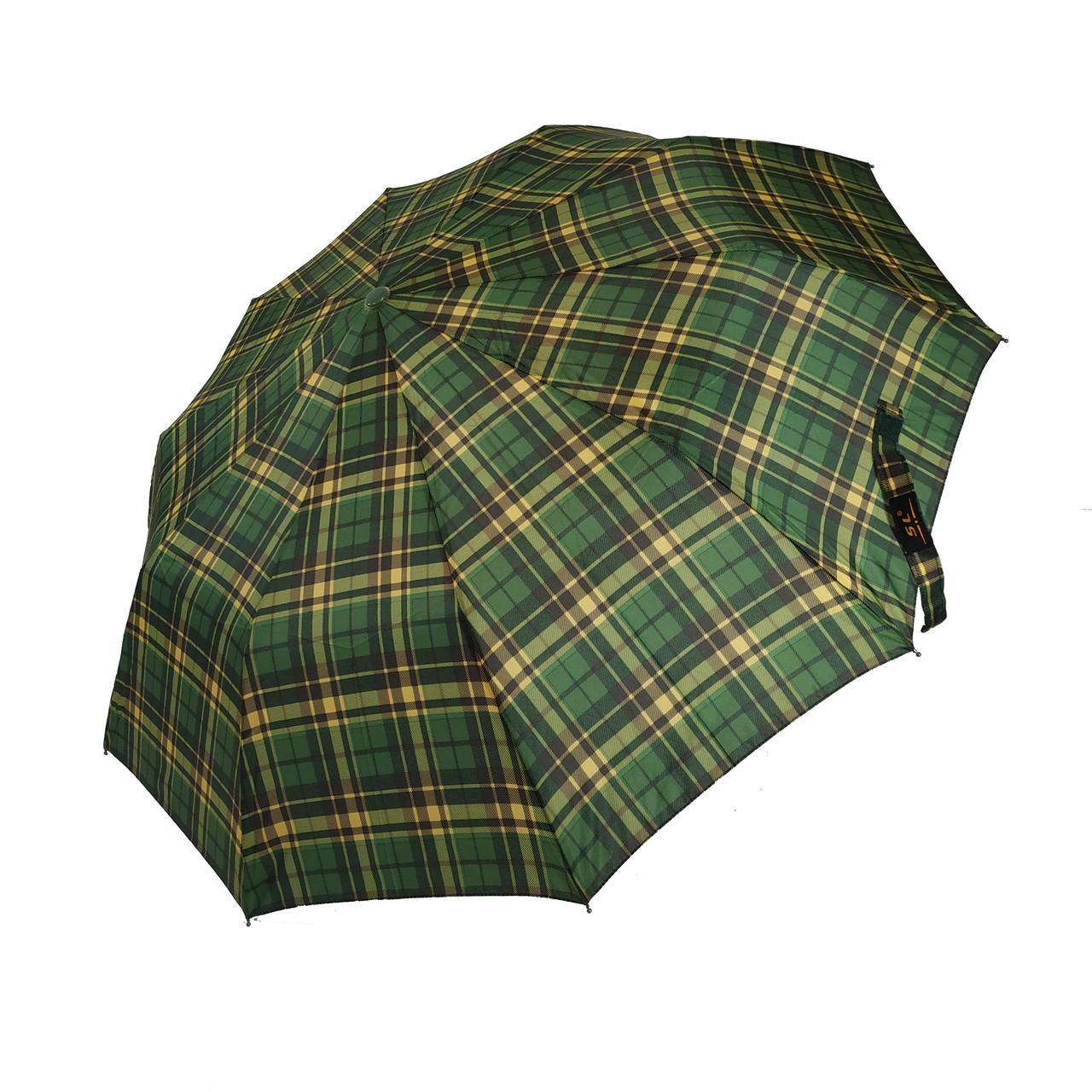 Мужской зонт-полуавтомат в клетку от SL, зеленый, 475-2