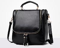 Сумка рюкзак женская трансформер Vintage Черный, фото 1