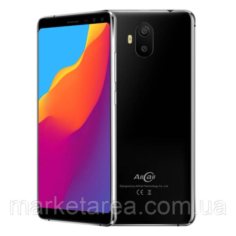Смартфон черный с большим дисплеем и батареей большой емкости на 2 сим карты Allcall S1 black 2/16 гб