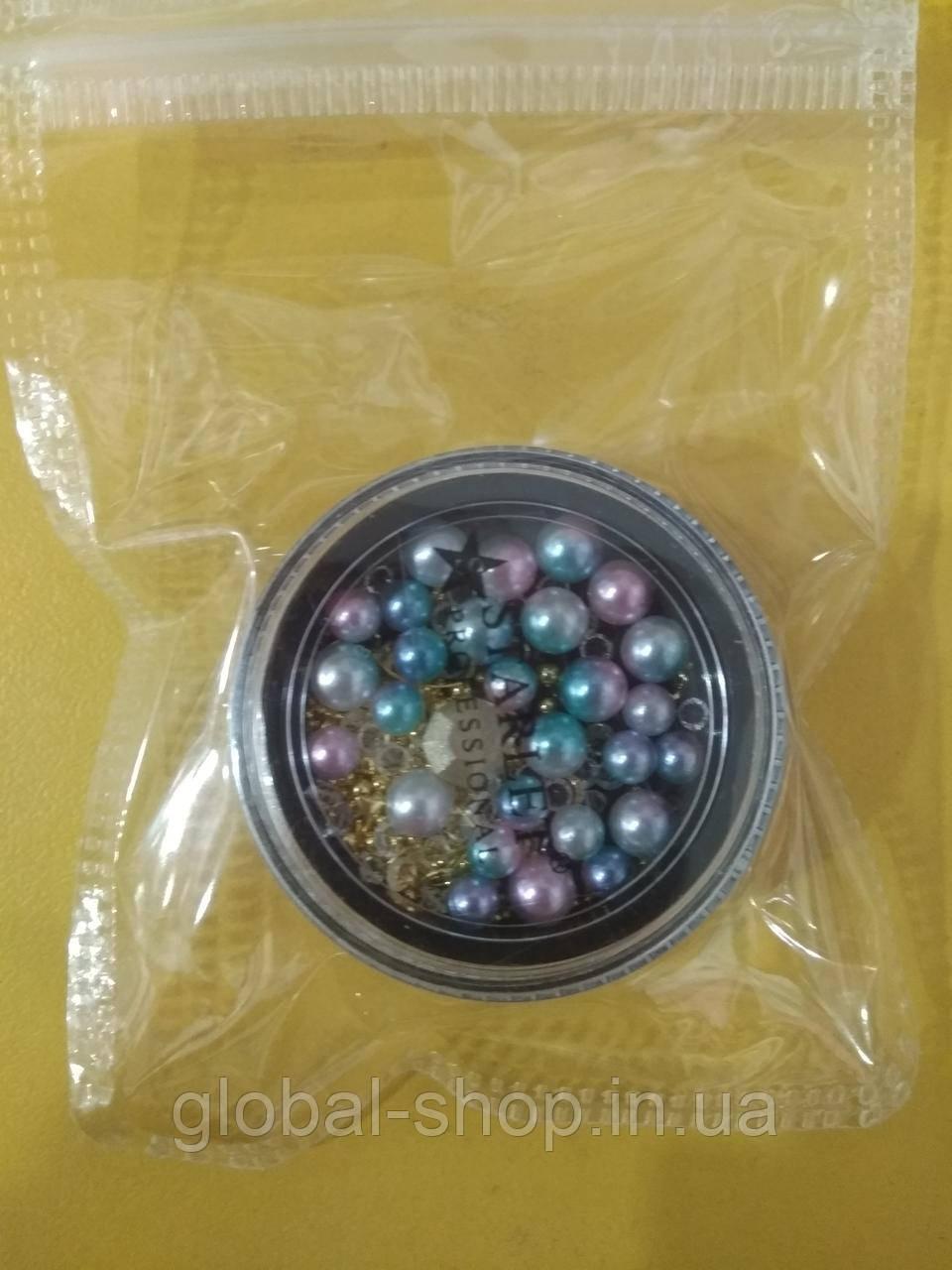 Микс бусинки кристаллики для дизайна ногтей в баночке