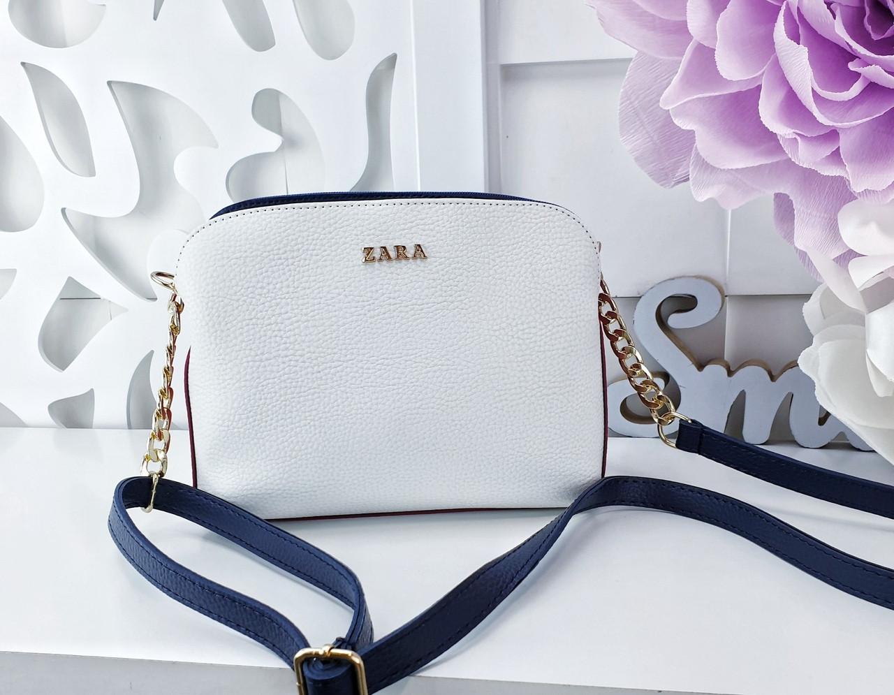 5d9337f89c62 Женский клатч цвета белый+вишня+синий Zara (копия), из структурной эко кожи