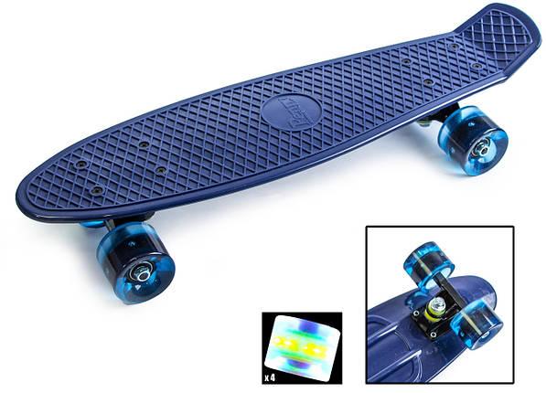 Скейт Пенни борд Penny Board Ultra Led 22 - Синий 54 см, фото 2