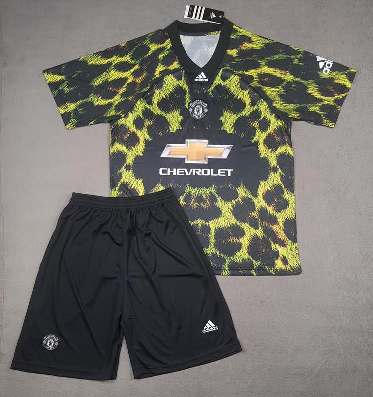 Детская футбольная форма Манчестер Юнайтед EA Sports зелено-черная (сезон 2018-2019)
