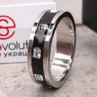 Женское кольцо Swarovski с черной эмалью и кристаллами 15-20 р 102803