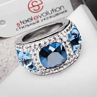 Женское кольцо с синими и белыми кристаллами Swarovski 15-20 р 102805