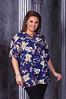 Женская блузка Лабиринт . 56, 58, 60, 62рр софт-котон. Цветы, бабочки, фото 1