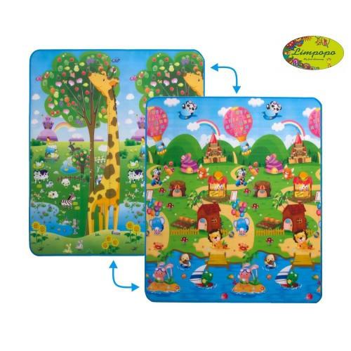 """Дитячий двосторонній розвиваючий килимок limpopo """"жираф Великий і сонячний день"""" 180х200 см"""