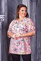Женская блузка Лабиринт . 56, 58, 60, 62рр софт-котон. Цветы, бабочки, розовая, фото 1
