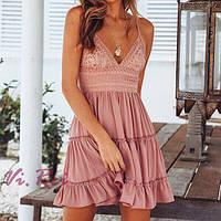 Cарафан женский с кружевом и открытой спиной розовый