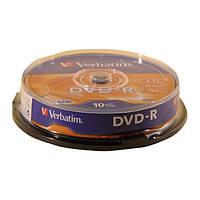 Диск Verbatim DVD-R 4.7 GB/120 min 16x Cake Box 10шт (43523)