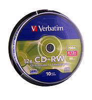 Диск Verbatim CD-RW DL+ 700 MB/80 min 8x-12x Cake Box 10шт (43480)