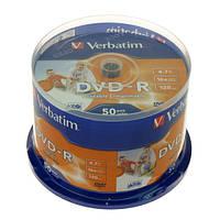 Диск Verbatim DVD-R 4.7 GB/120 min 16x Cake Box 50шт (43533) Printable
