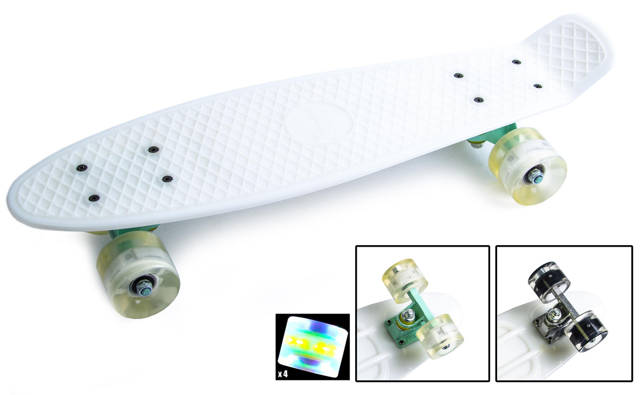 Скейт Пенни борд Penny Board Ultra Led 22 - Белый 54 см