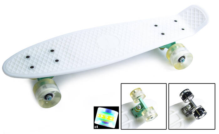 Скейт Пенни борд Penny Board Ultra Led 22 - Белый 54 см, фото 2