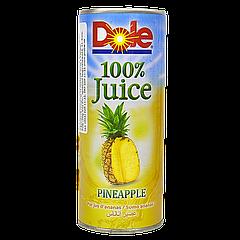 Ананасовый сок 100% Dole, ж/б 250г, 4шт/уп, 6уп/ящ
