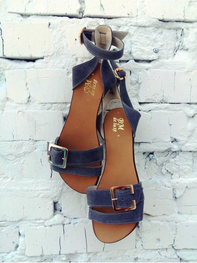 Женские сандалии из натуральной замши темно-серого цвета JUICE GREY SUEDE