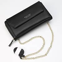 Стильный женский клатч-кошелёк черный, фото 1