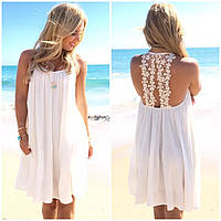 Платья шифоновое белое с кружевом на спине №177