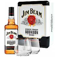 Виски Jim Beam White (Джим Бим Вайт) в металлической коробке + 2 бокала 0,7 л