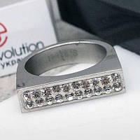 Женское кольцо с кристаллами Swarovski белого цвета 15-20 р 102811