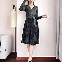 b31b313e574 Вязаное платье женское с люрексом и юбкой плиссе черное