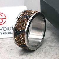 Женское кольцо с янтарными кристаллами Swarovski 15-20 р 102814
