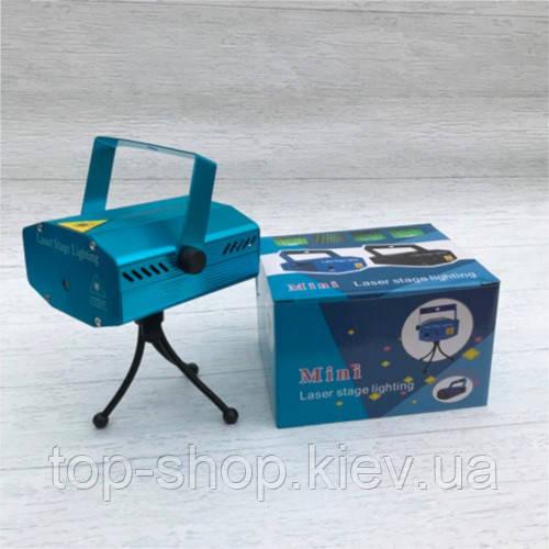 Мини лазерный проектор стробоскоп лазер шоу Mini Laser 4in1