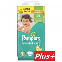Подгузники Pampers Active Baby-Dry Maxi Plus 4+(9-16 кг) 120 шт (Памперсы), фото 1