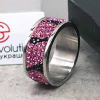 Женское кольцо с розовыми кристаллами Swarovski 15-20 р 102816